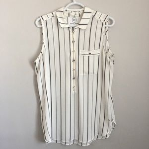 sleeveless shirt white and black point zéro